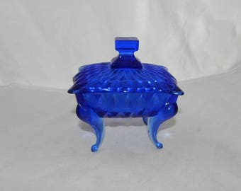 Cobalt Blue Glass 4 Footed Candy/Trinket Dish With Lid