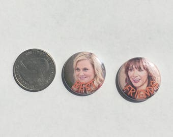 """Parks and Recreation Best Friends 1"""" Pinback Button Set of 2"""