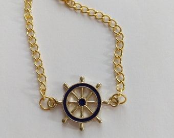 Nautical Gold and Blue Bracelet