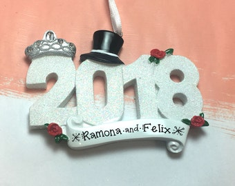 2018 Wedding Personalized Christmas Ornament / 2018 Wedding Ornament / Personalized Ornament / 2018 Married Ornament