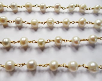 12 INCHES - 4 MM Hand Made round fresh water pearl sterling silver  gold plate Vermeil link chain