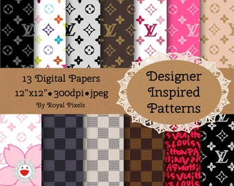 13 Digital Paper Backgrounds - Designer Inspired Patterns - Instant Download #63