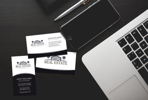 Elegant black and white real estate business cards template elegant black and white real estate business cards template psd instant download wajeb Image collections