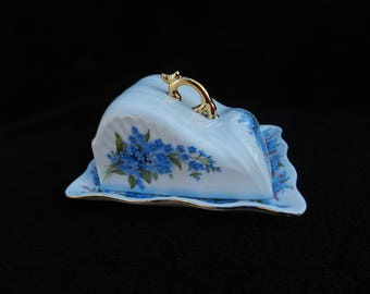 Covered Cheese Dish: Hand decorated porcelain
