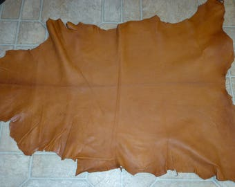 """Leather 5.5 - 6 sq ft Butterscotch Tobacco Cationic with flaws Goatskin Hide 32""""x21"""" 2.25-2.5 oz / 0.9-1 mm PeggySueAlso"""