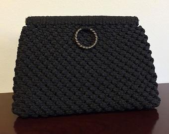 Vintage Black Macrame/Crochet Clutch Handbag