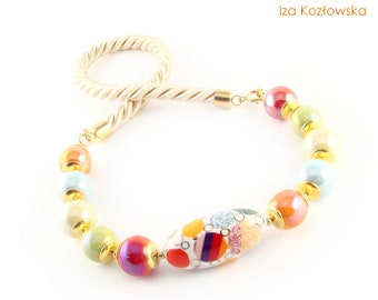 Ceramic Spring - multicolor - vermeil ceramic necklace