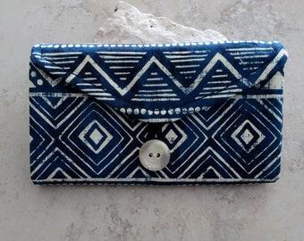 Travel Jewelry Organizer - Jewelry Storage Wallet - Travel Gift - Clear Travel Pockets - Jewelry Organizer - Navy Blue Ikat Fabric
