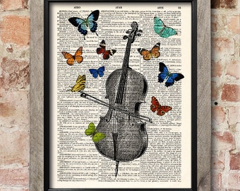Cello Print, Violoncello poster, Butterflies print art, Dictionary art print, Antique book print, Home Wall Decor, musician gift [ART 033]