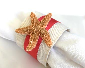 Sugar Starfish Napkin Ring with Coral Ribbon - Beach Wedding - seashore - shells