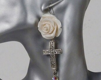 White roses and crosses dangle earrings, Goth jewelry, statement earrings