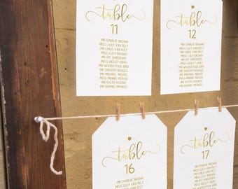 wedding table plan ideas. Faux Gold Wedding Seating Chart, DIY Printable Table Plan, Reception Templates 5x7 And Plan Ideas