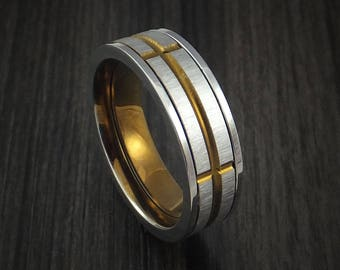 Titanium and bronze spinner band custom made ring