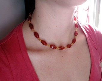 Blood Orange Carnelian Beaded Necklace, Orange Beads Choker, Carnelian Jewelry, Red Orange Choker