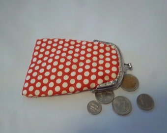 COIN CARDS PURSE, snap closure, red with white dots, polka dots