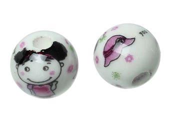 Round beads pattern ceramic little girl.