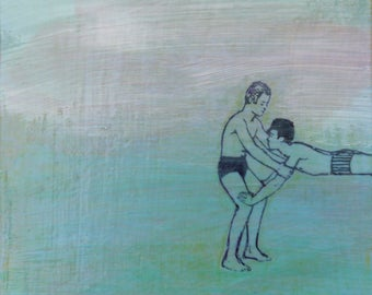 original small affordable art - Swim Lesson - one of a kind acrylic painting by Irene Stapleford - wantknot shop