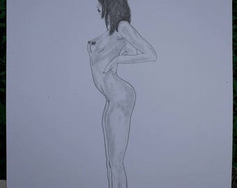 """drawing of nude female erotic """"Arch"""""""