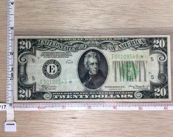 1934 Twenty Dollar Star Note E00109540 Money Used