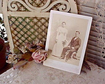 Charming Victorian Sepia Toned Photograph of Bride & Groom from San Francisco