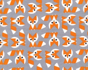 SALE Organic cotton fabric. Picture pie Fox. Quilters weight. Cloud9 fabric.Fox Gray grey white orange black