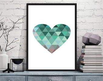 Printable wall art Digital Prints modern green blue heart wall art printable art, printable prints