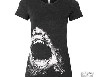Womens SHARK tee T Shirt -hand screen printed s m l xl xxl (+ Colors Available) custom