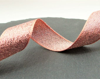 Rose Gold Lame , Sparkly Double Sided Ribbon 15mm Wide Per Metre ---1---