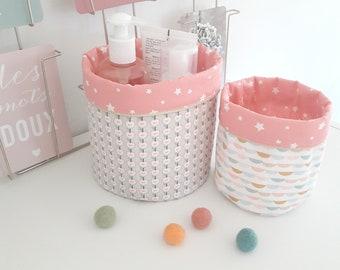 Set of 2 baskets for storage/basket/baskets in mint green, pink color fabric.
