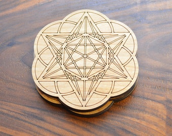 """Star Tetrahedron Hexagon Seed of Life 3.5"""" or 4"""" Drink Coasters - Sacred Geometry Home Decor by LaserTrees - LT40037"""