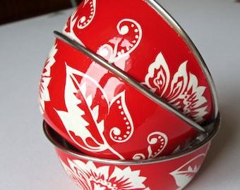 Handpainted Enamelware Bowls-Coral