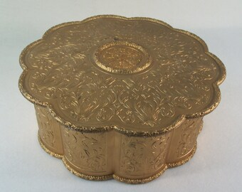 Vintage Sewing Box Storage Box Large Plastic Scalloped Gold Creative Containers Corp.       S949