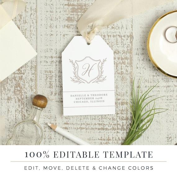 Plantilla de boda Favor etiqueta imprimir colgar etiquetas
