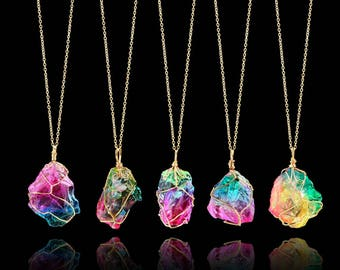Natural Rainbow Stone Pendant with Necklace