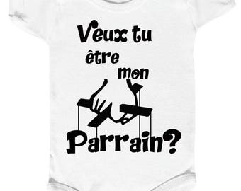 "funny baby Bodysuit""want you be my godfather? """
