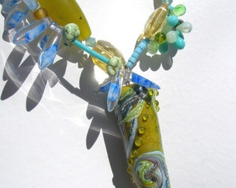 Handmade Glass and Jade Necklace Olive GreenTurquoise