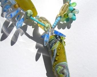 Handgemachte Glas und Jade Halskette Olive GreenTurquoise