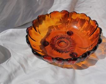 Vintage RED glass fruit bowl
