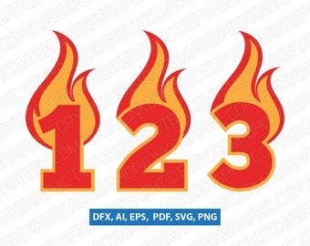 Fire Flame Burning Numbers First Second Third Fourth Fifth 1st 2nd 3rd 4th 5th birthday party SVG Vector Cricut Cut File Clipart Png Eps Dxf