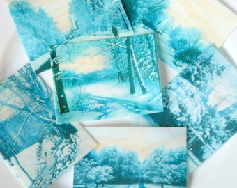 Edible Blue Winter Snow Scenes x 12 Classic Landscapes Wafer Rice Paper Cake Cupcake Biscuit Cookie Decoration White Ice Cottage Toppers