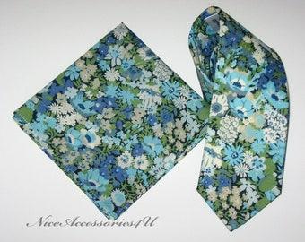Liberty print floral tie & pocket square Wedding necktie Aqua blue skinny tie for men Slim necktie Liberty print Thorpe tie and handkerchief