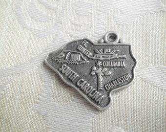 Vintage  Sterling South Carolina State Map Travel Charm
