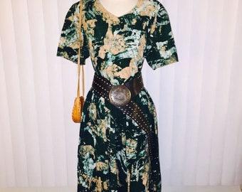 Vintage 1970's Green Batik Boho Hippie Coachella Tie Dye Effect Dress Sz M-L