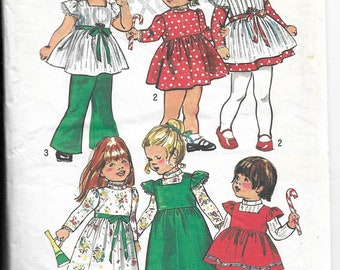 Simplicity 5993 Size 2 Toddlers' Dress & Smock in Two Lengths and Bell-Bottom Pants