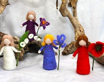 Flower fairy Waldorf inspired needle felted doll:  flower child