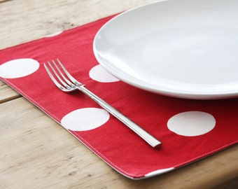 Cloth Placemats - Red with White Polka Dots - Set of 4