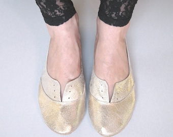 Oxfords Shoes in Soft Gold Leather Flats Shoes Ballerinas