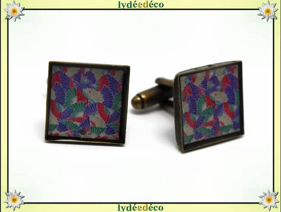 2 retro suit cuff links resin fan Japan red Pink White Green bronze 16mm