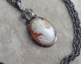 Vintage Sterling Shell Cameo Necklace