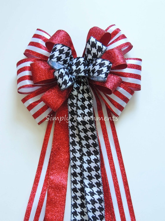 Red Black Houndstooth Bow Red Black Houndstooth Wreath Bow Black Red Door Wreath Bow Alabama Football Red Black Houndstooth Door hanger Bow